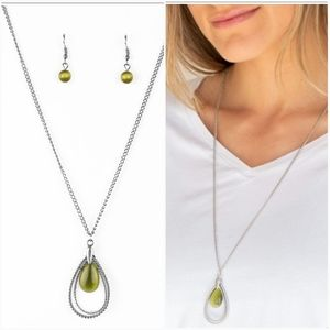 TEARDROP TRANQUILITY GREEN MOONSTONE NECKLACE/EARR